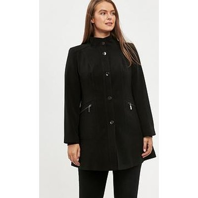 Evans Double Crepe Funnel Coat - Black