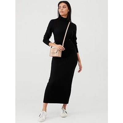 Calvin Klein Superfine Wool Column Dress - Black