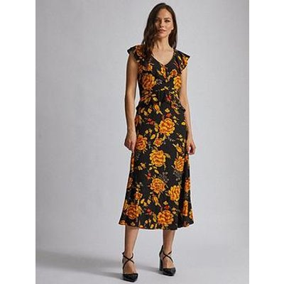 Dorothy Perkins Dorothy Perkins Flower Ruffle Midi Dress - Multi