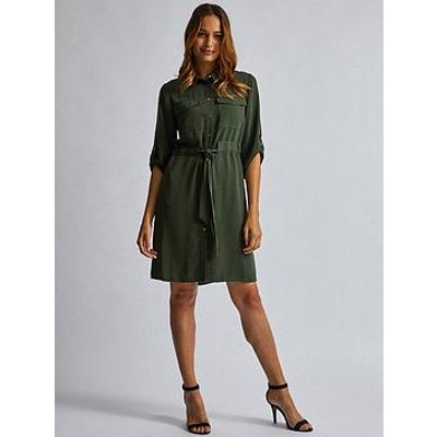 Dorothy Perkins Dorothy Perkins Drawstring Shirt Dress - Khaki