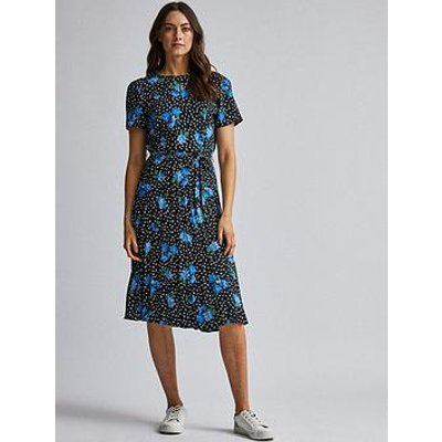 Dorothy Perkins Dorothy Perkins Pleated Floral Dress - Blue