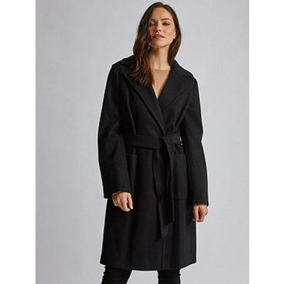 Dorothy Perkins Dorothy Perkins Patch Pocket Wrap Coat - Black