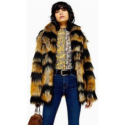 Topshop Topshop Tiger Stripe Faux Fur Boxy Jacket - Multi