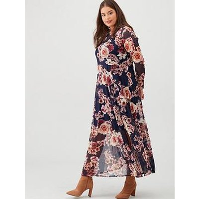 V By Very Curve Long Sleeve Mesh Maxi Dress - Navy/Floral