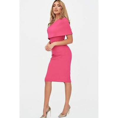 Lavish Alice One Shoulder Cape Dress - Pink