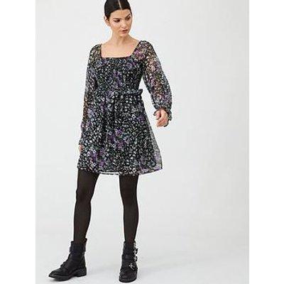 V By Very Georgette Shirred Tea Dress - Floral