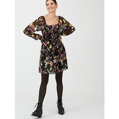 V By Very Georgette Shirred Tea Dress - Print