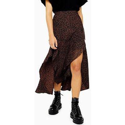 Topshop Topshop Petite Leopard Ruffle Maxi Skirt - Leopard