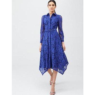 V By Very Lace Shirt Midaxi Dress - Blue