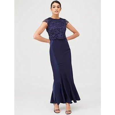 V By Very Bridesmaid Lace Overlay Maxi Dress - Navy
