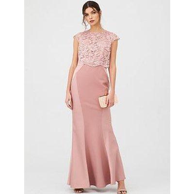 V By Very Bridesmaid Lace Overlay Maxi Dress - Mauve