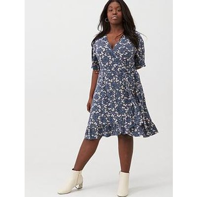 V By Very Curve Printed Jersey Tea Dress - Navy Floral