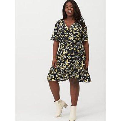 V By Very Curve Printed Jersey Tea Dress - Black Print