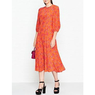 L.K. Bennett Iris Print Bell Sleeve Dress - Orange