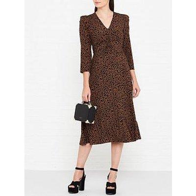 L.K. Bennett Gabrielle Coral Print Midi Dress - Black