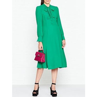 L.K. Bennett Mortimer Pussy Bow Midi Dress - Green