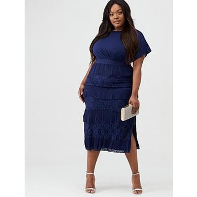 Little Mistress Curve Lace Pleat Tiered Midaxi Dress - Navy