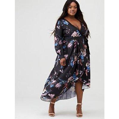 Little Mistress Curve Printed Jaquard Wrap Maxi Dress - Multi