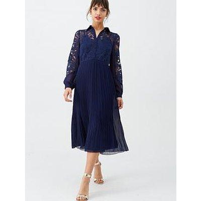 Little Mistress Lace Pleated Midi Dress - Navy