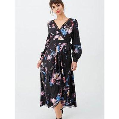 Little Mistress Dipped Hem Wrap Maxi Dress - Black/Floral