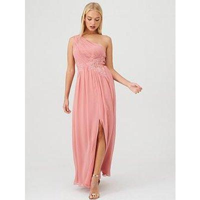 Little Mistress One Shoulder Lace Embellished Bridesmaid Dress - Pink