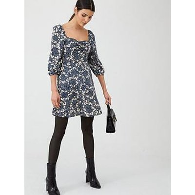 V By Very Moss Crepe Puff Sleeve Tea Dress
