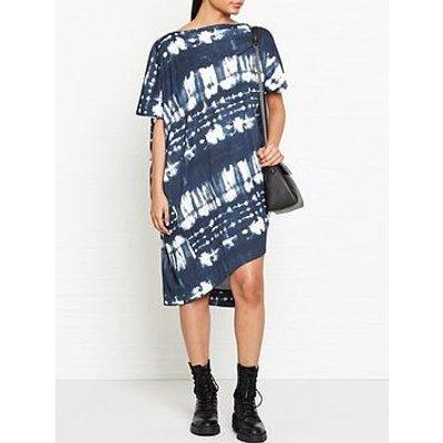 Vivienne Westwood Anglomania Palm Tie Dye Print Drape Dress - Navy