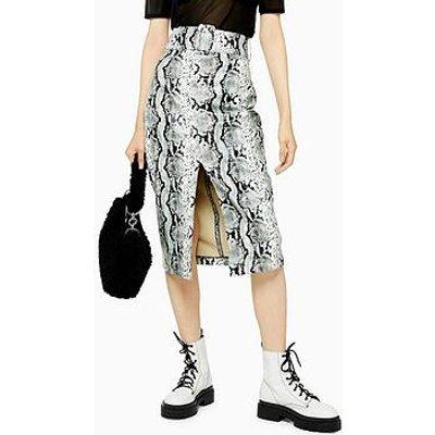 Topshop Snake Pu Pencil Skirt - Sage
