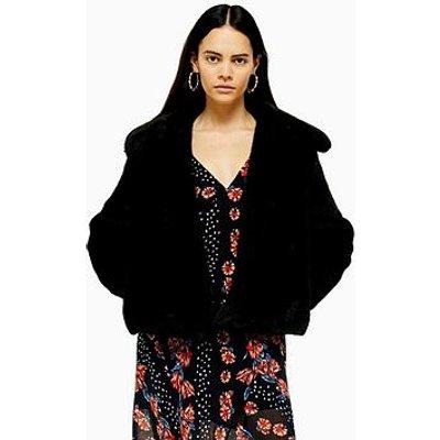 Topshop Faux Fur Button Up Jacket - Black
