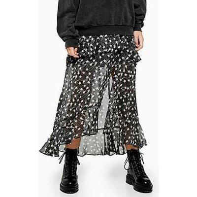 Topshop Star Ruffle Maxi Skirt - Black