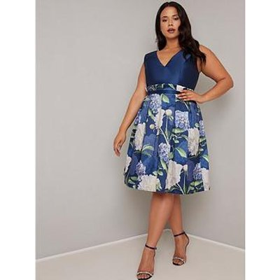 Chi Chi London Curve Llona Dress - Navy