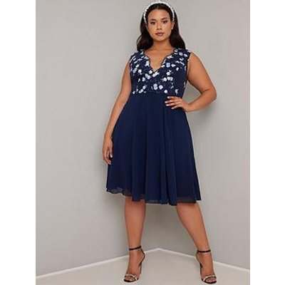 Chi Chi London Curve Samar Dress - Navy