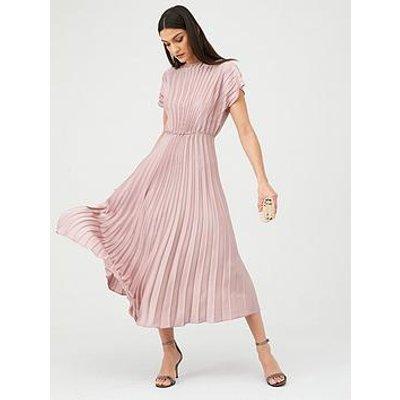 V By Very Pleated Satin Midi Dress - Pink