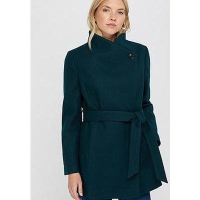 Monsoon Rita Wrap Collar Short Coat - Teal