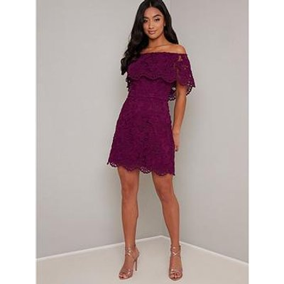 Chi Chi London Petite Eleya Dress - Berry