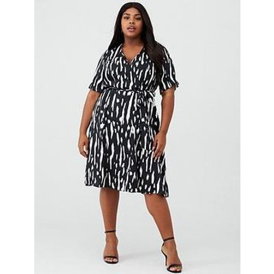 V By Very Curve Printed Wrap Front Dress - Mono