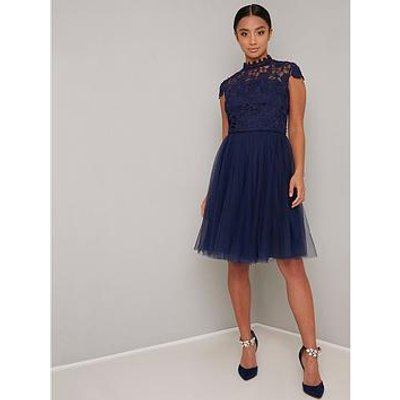 Chi Chi London Petite Ailish Dress - Navy