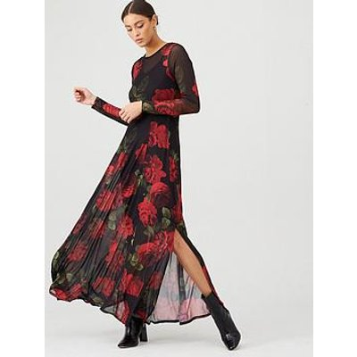 V By Very Mesh Long Sleeve Maxi Dress - Floral