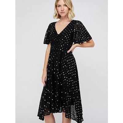 Monsoon Dela Sequin Hanky Hem Tea Dress - Black