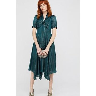 Monsoon Elodie Hanky Hem Metallic Stripe Dress -Teal