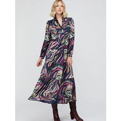 Monsoon Maddie Marble Print Tier Maxi Dress - Navy