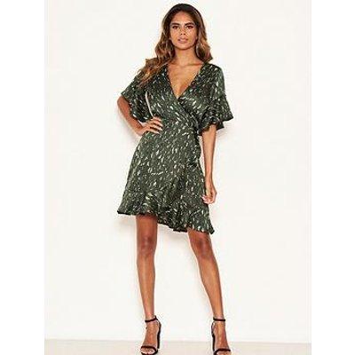 Ax Paris Printed Satin Wrap Dress - Green