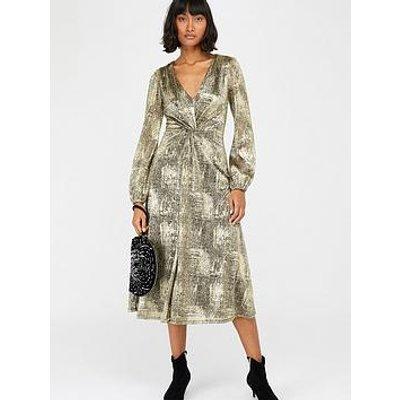 Monsoon Vanessa Twist Midi Dress - Gold