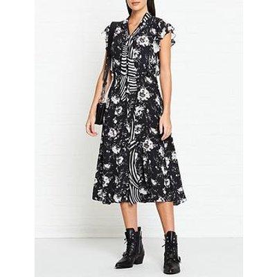 Allsaints Kiti Mixed Print Midi Dress - Black
