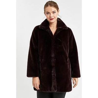 Evans Faux Fur Funnel Coat
