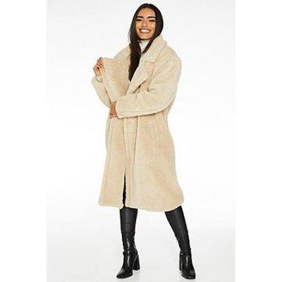 Quiz Teddy Faux Fur Long Length Jacket - Cream