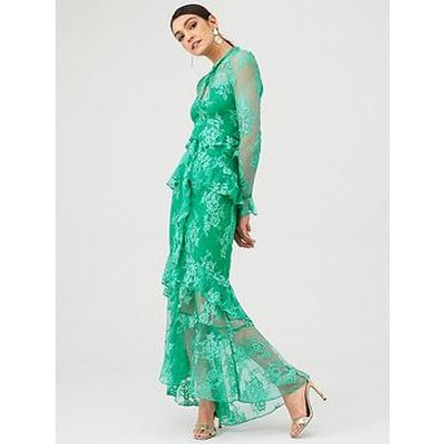 V By Very Lace Ruffle Front Maxi Dress - Green