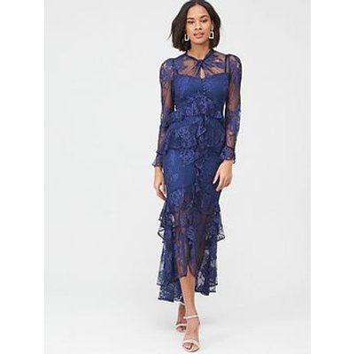 V By Very Lace Ruffle Front Maxi Dress - Navy