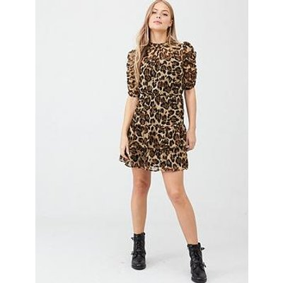 V By Very Ruched Sleeve Tea Dress - Animal Print