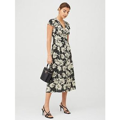 Whistles Starburst Floral Print Dress - Black/Multi